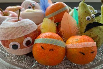 gezonde traktaties,fruit traktaties,traktaties verjaardag,traktaties sint maarten,indianen mandarijnen,toffe peren,mummie appels