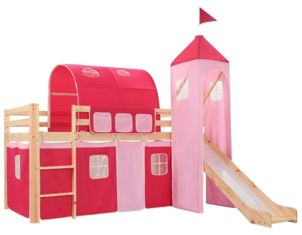 hoogslaper,kinderbed,roze hoogslaper,vidaxl,hoogslaper met glijbaan,prinsessen hoogslaper,hoogslaper kasteel