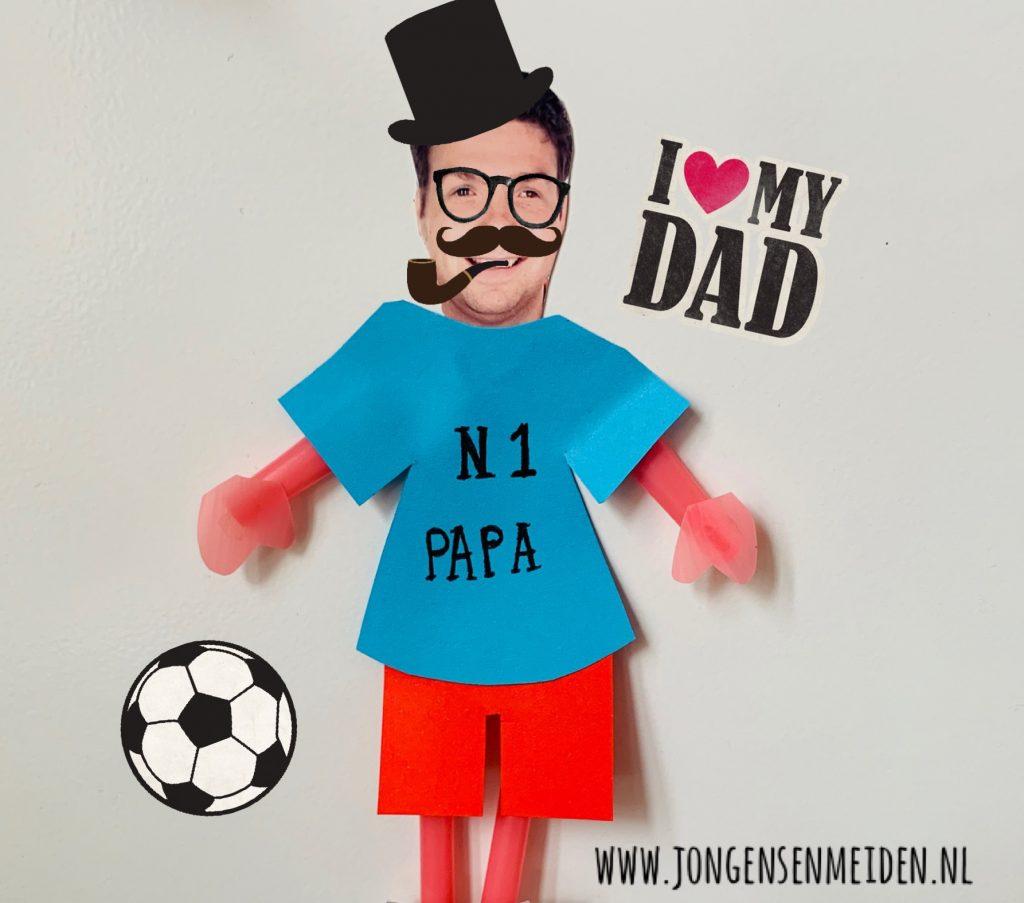 vaderdag knutselen,voetballertje,knutselen voor vaderdag,idee knutselen vaderdag,tips knutselen vaderdag,papa die van voetbal houdt