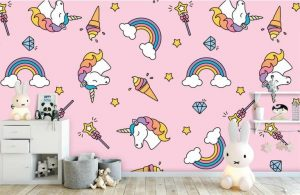 behang kinderkamer,unicorn behang,regenboog behang,ijsjes behang,eenhoorn behang,behang eenhoorn,behang unicorns