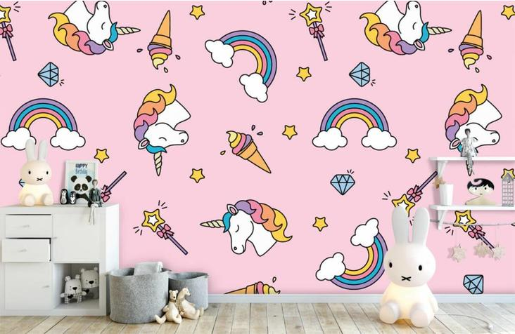 unicorn behang,regenboog behang,ijsjes behang,eenhoorn behang,behang eenhoorn,behang unicorns