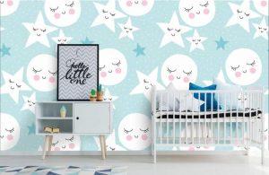Babykamer Behang Sterren : Behang kinderkamer maan en sterren jongens en meiden