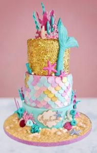 kinder verjaardagstaarten,mermaid taart,zeemeermin taart