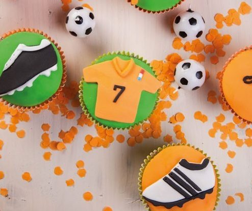 cupcake recepten,voetbal cupcakes