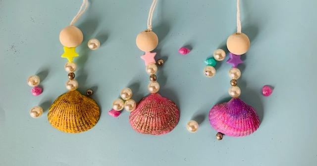 zeemeerminnen ketting,ketting knutselen,schelpen knutselen