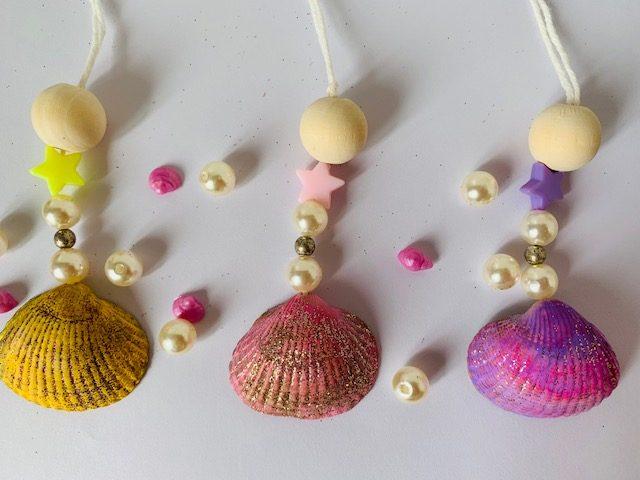 zeemeerminnen ketting,schelpen knutselen,ketting maken