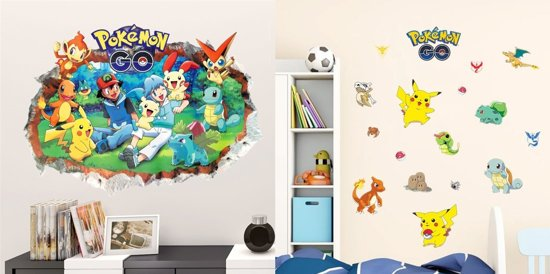 pokemon slaapkamer,pokemon muurstickers