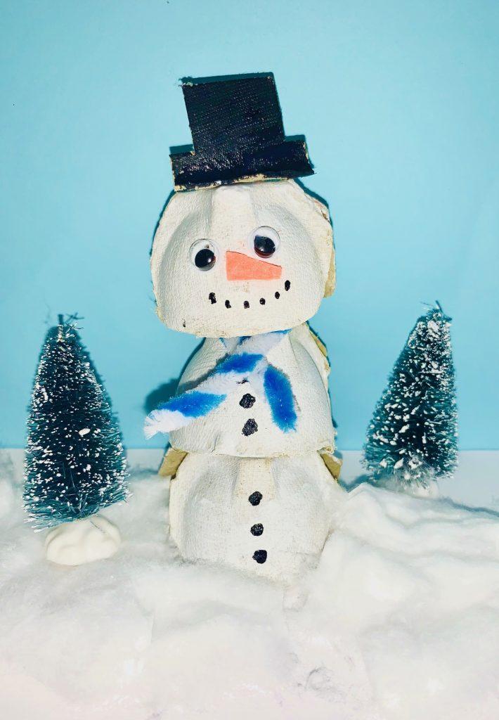 eierdoos knutselen,sneeuwpop knutselen