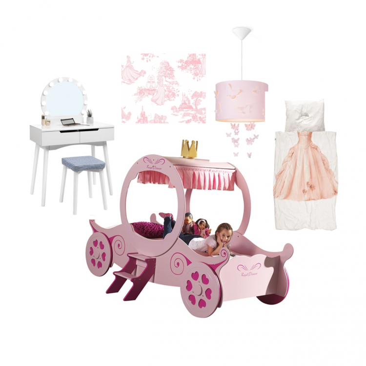 prinsessenkamer,prinsessenbed,kaptafel kind,prinsessen behang,prinsessen lamp,prinsessen dekbedovertrek