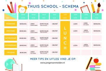 scholen dicht,leerschema,schema dagindeling,tips kinderen thuis,corona virus,thuis onderwijs,thuis leren,kinderen thuis door corona virus,thuis school