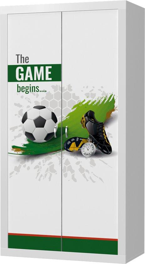voetbal kast,kast met voetbal afbeelding erop,stoere kledingkast,kast jongenskamer