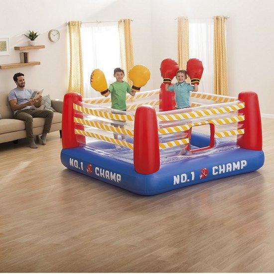 sporten met de kids,thuis school,corona tips kinderen,boksring kinderen,springkussen voor in huis,kinder springkussen