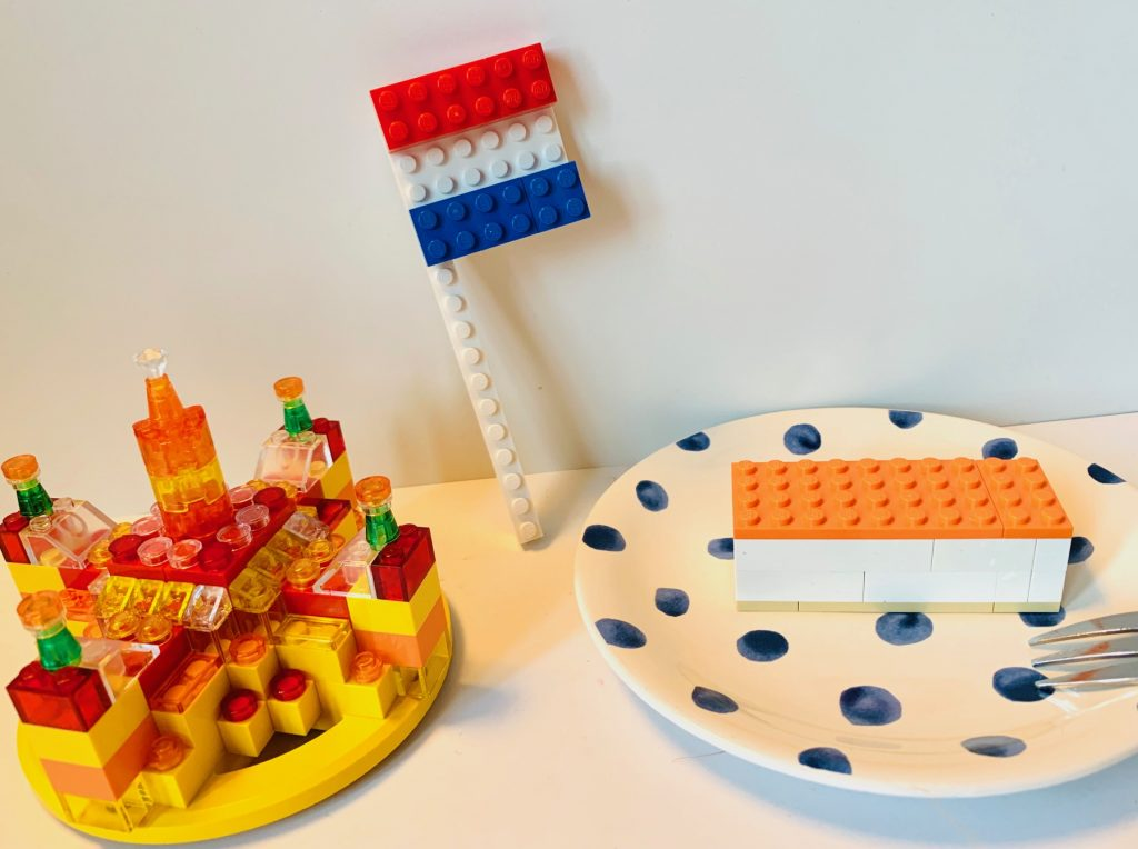 woningsdag,tips woningsdag met kinderen,koningsdag 2020,koningsdag corona,lego oranje,koningshuis lego,oranje tompouce lego,nederlandse vlag lego,kroon lego