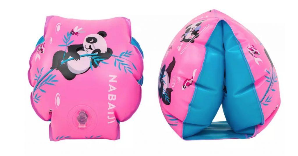 zwembandjes decathlon,roze zwembandjes,zwembandjes met panda erop,roze blauwe zwembandjes