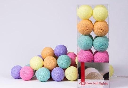 cotton ball lights lichtslinger,gekleurde slinger,balletjes slinger,lampjes slinger,gekleurd lichtsnoer