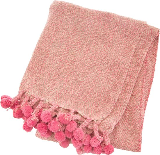 pom pom deken,roze deken