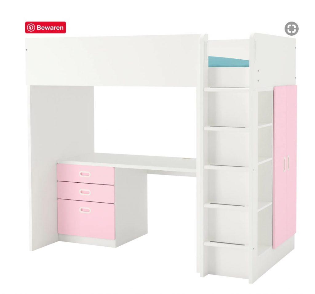 stuva fritids hoogslaper ikea,roze hoogslaper,wit met roze hoogslaper,prinsessenkamer,prinsessen slaapkamer,tips meisjeskamer,tips meisjes slaapkamer,roze kamer,roze slaapkamer,roze bed