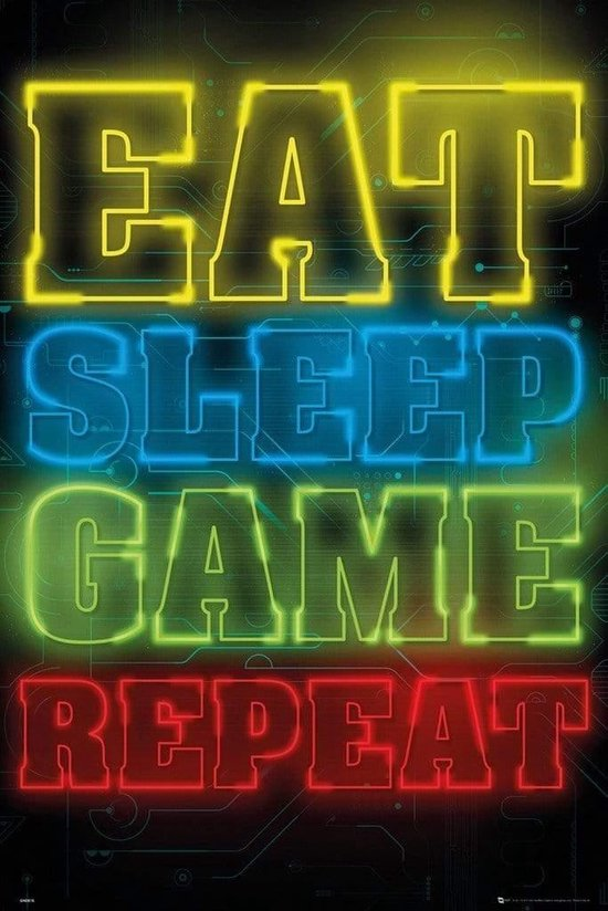 game poster,gaming poster,eat sleep game repeat