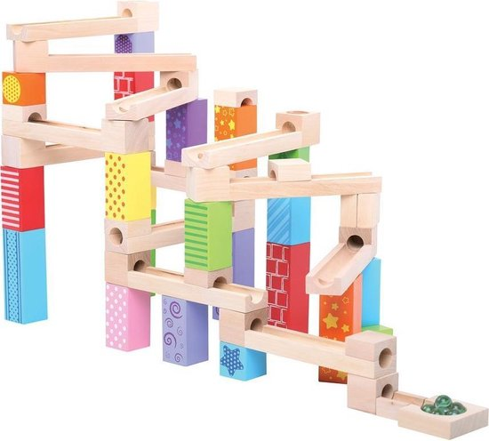 knikkerbaan bigjigs,knikkerbaan met blokken,houten knikkerbaan,duurzaam speelgoed,mooi kraamcadeau,knikkerbaan voor kleine kinderen