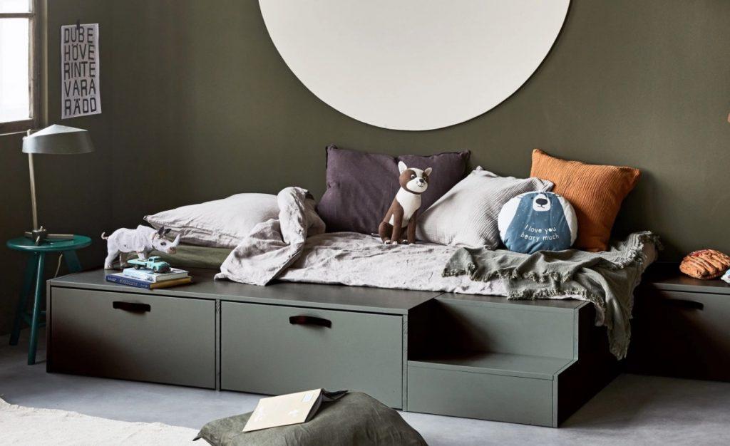 vt wonen stage bed,taupe bed,eenpersoonsbed,stoer jongensbed,jongensbed met lade