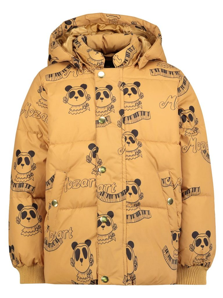 mini rodini jongens winterjas,panda,okergele jongens winterjas,jongens winterjas met capuchon