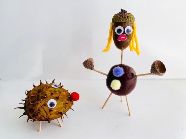 herfst knutselen,tips en ideeen herfst knutselen,knutselen met kastanjes,knutselen met eikels,egeltje knutselen,mannetje knutselen