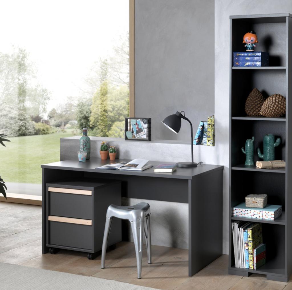 vipack london boekenkast,donkergrijze boekenkast,grijze kinderboekenkast,stoere boekenkast,strakke boekenkast,moderne boekenkast