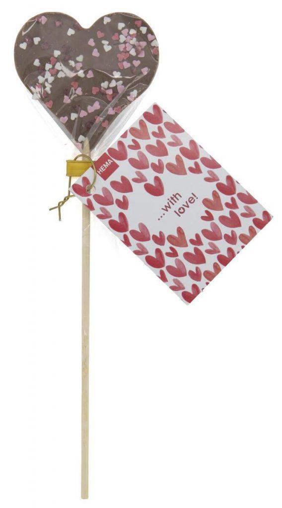 chocolade lolly hema,valentijnsdag snoep,chocolade hartjes lolly,cadeau tip idee valentijnsdag