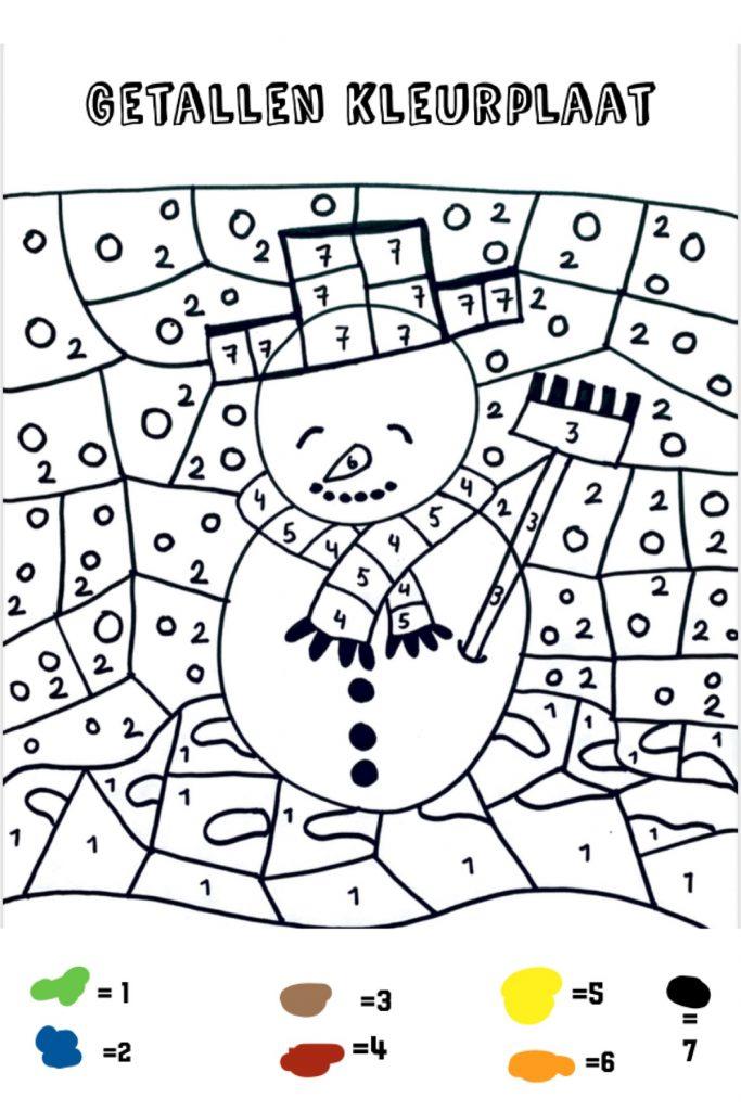 getallen kleurplaat,cijfer kleurplaat,winter kleurplaat,kinder kleurplaat sneeuwpop,sneeuwman kleuren,sneeuwpop kleuren,tips thuis onderwijs