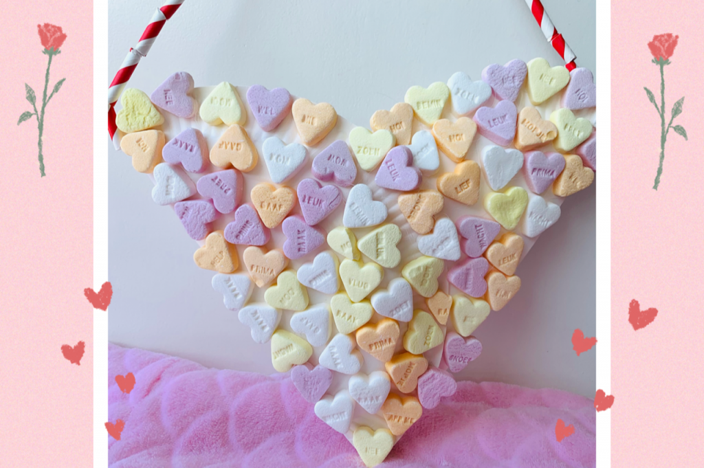 valentijnsdag knutselen,tips knutselen valentijnsdag,tips en ideeen valentijn,hartjes tasje,tasje van papieren bordjes,snoep hartjes tasje