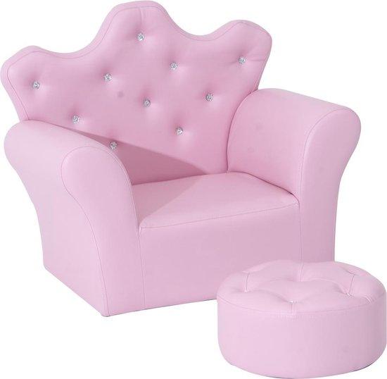 prinsessenkamer,kinderstoel roze,kinderfauteuil,roze kinder fauteuil met voetenbankje