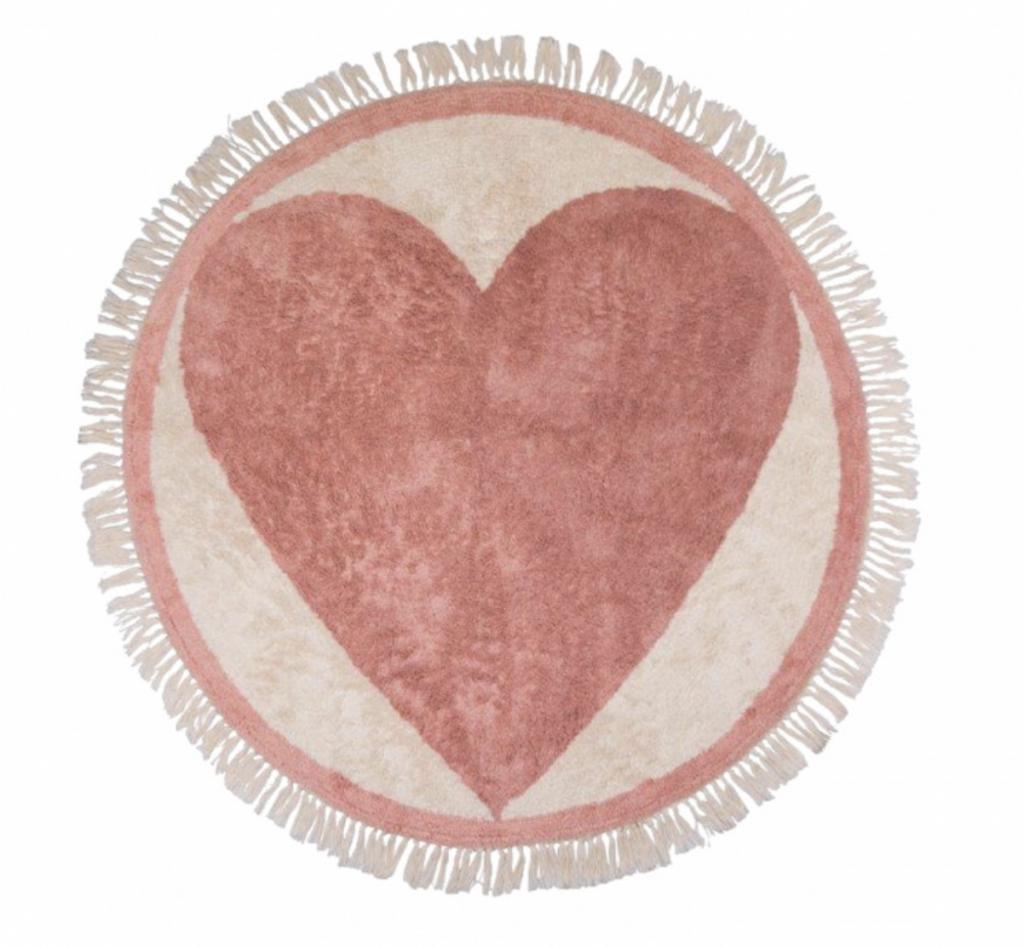 hartjes vloerkleed,roze vloerkleed,rond meisjesvloerkleed,tapis petit round heart vloerkleed