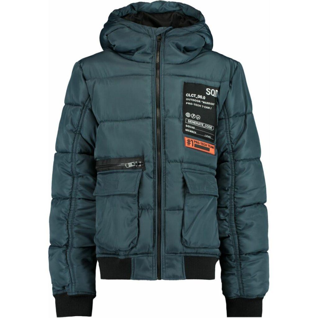 jongens winterjas coolcat met capuchon,petrol blauwe winterjas jongen,warme jongens jas,hippe jongens winterjas