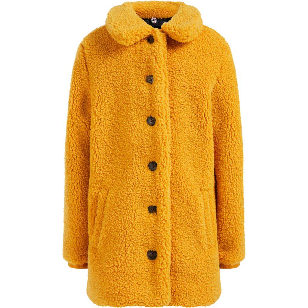 teddy winterjas meisje,we fashion jas geel,we fashion jas meisje,gele jas,gele meisjes winterjas